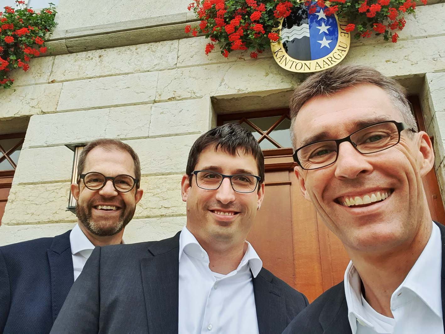 Letzte Kommissionssitzung vor den Grossratswahlen - FDP-Vertretung (Lukas, Stefan, Gabriel. von r.n.l.)